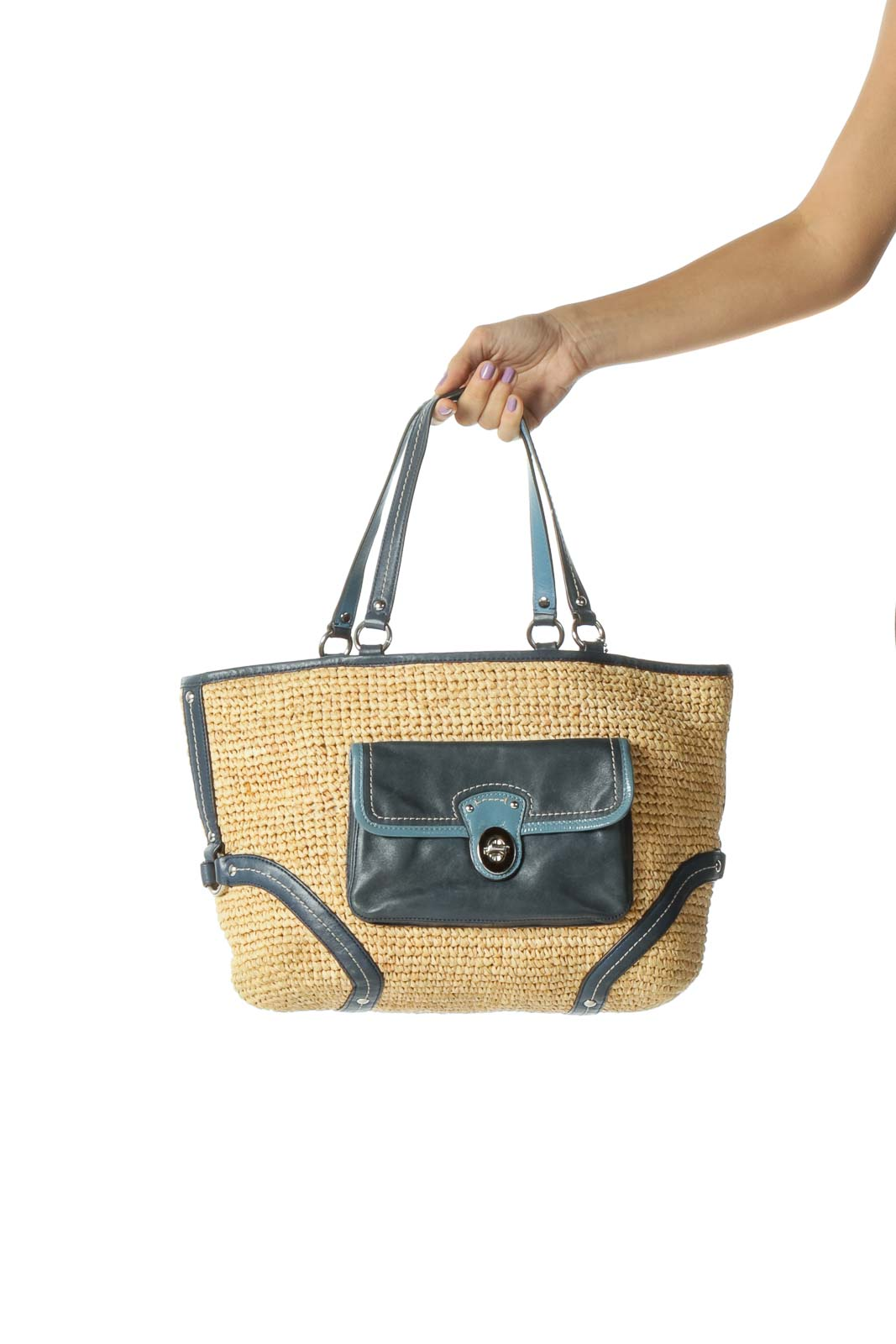 Blue and Brown Woven Straw Tote