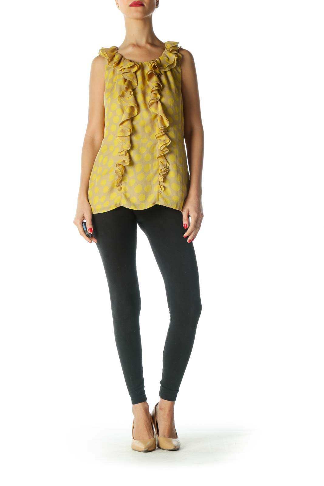 Yellow Print Ruffled Tank Top