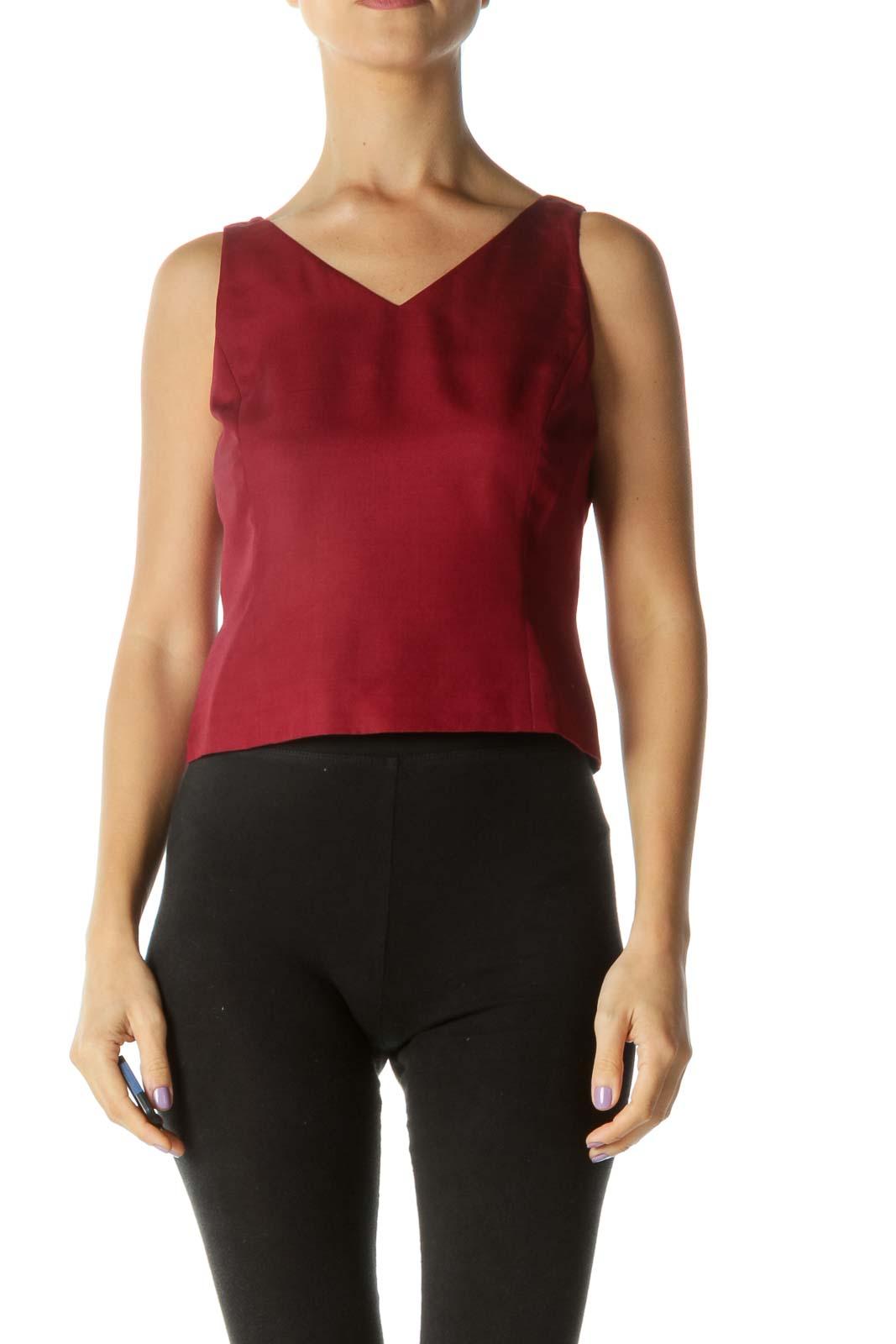 Burgundy Red Silk V-Neck Sleeveless Top