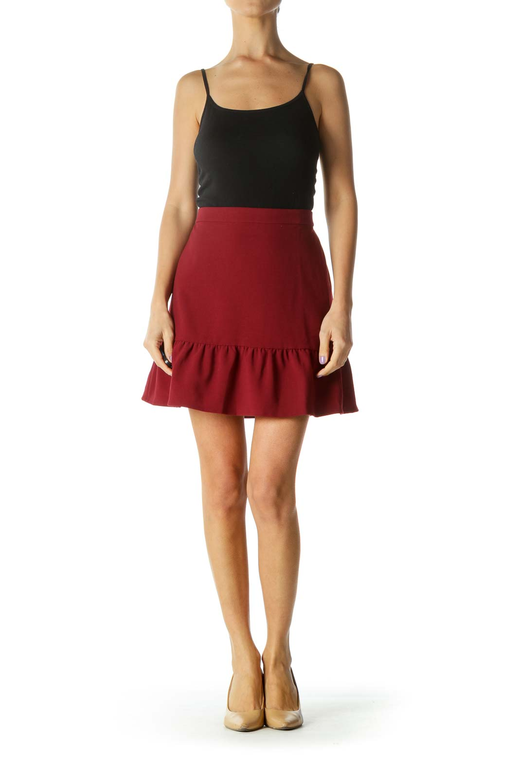 Burgundy Ruffled Edge Skirt
