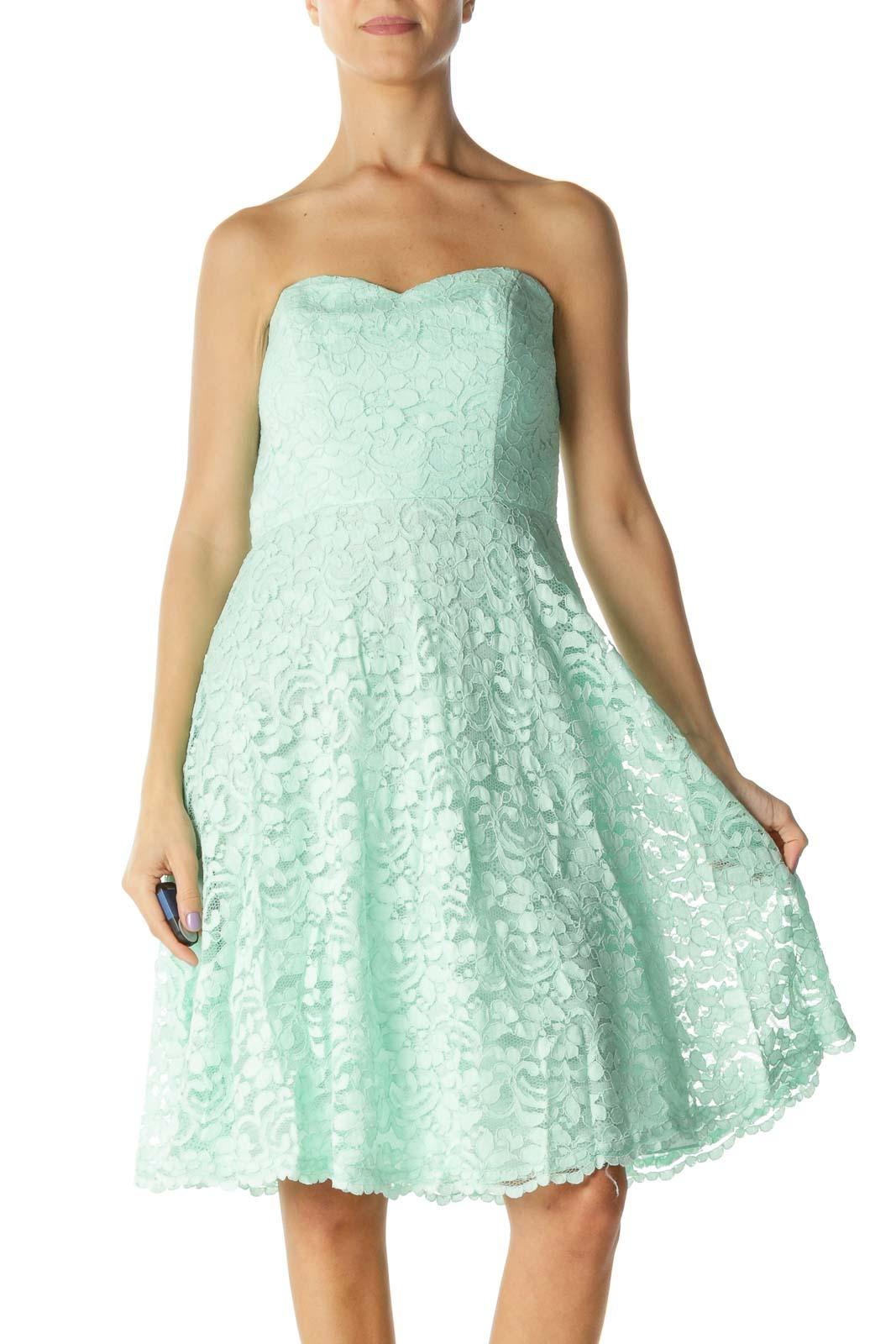 Mint Lace Floral Print Strapless Dress