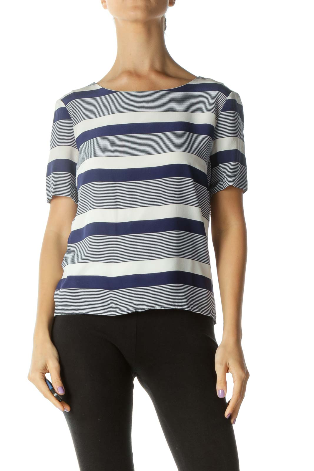 Blue Cream Silk Boat Neck Striped T-Shirt