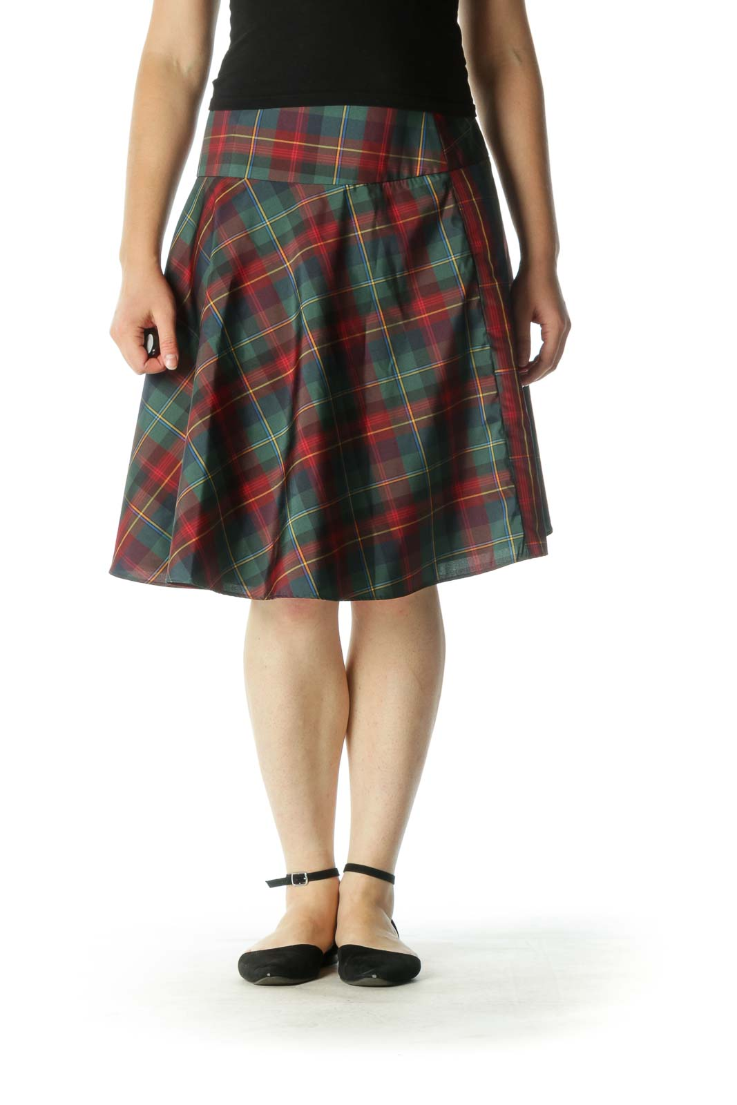 Red Green Plaid Skater Skirt