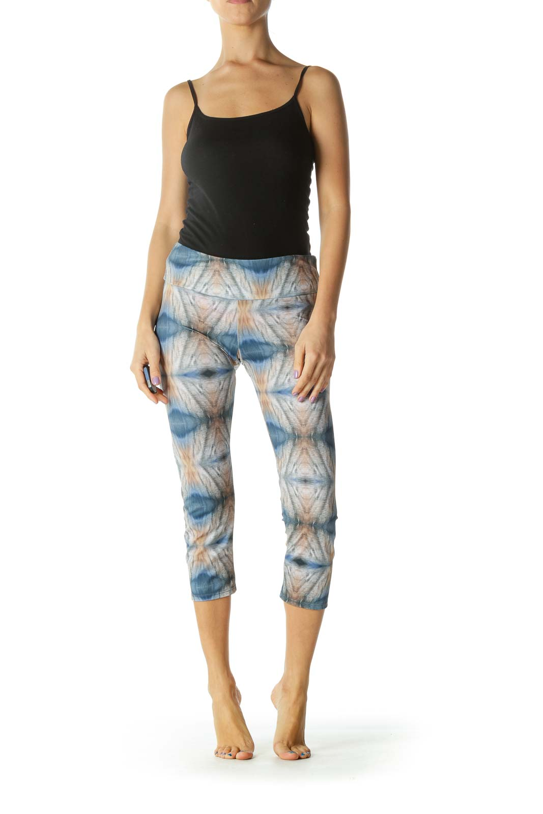 Brown Blue and Cream Print Sports Pants