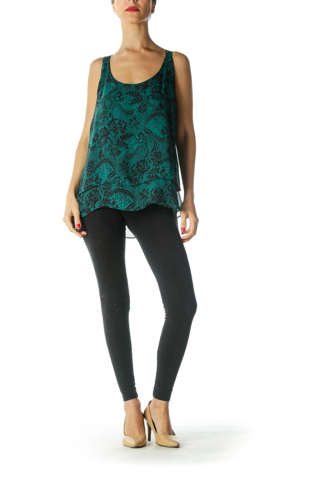 Black and Green Floral Print Tank Top