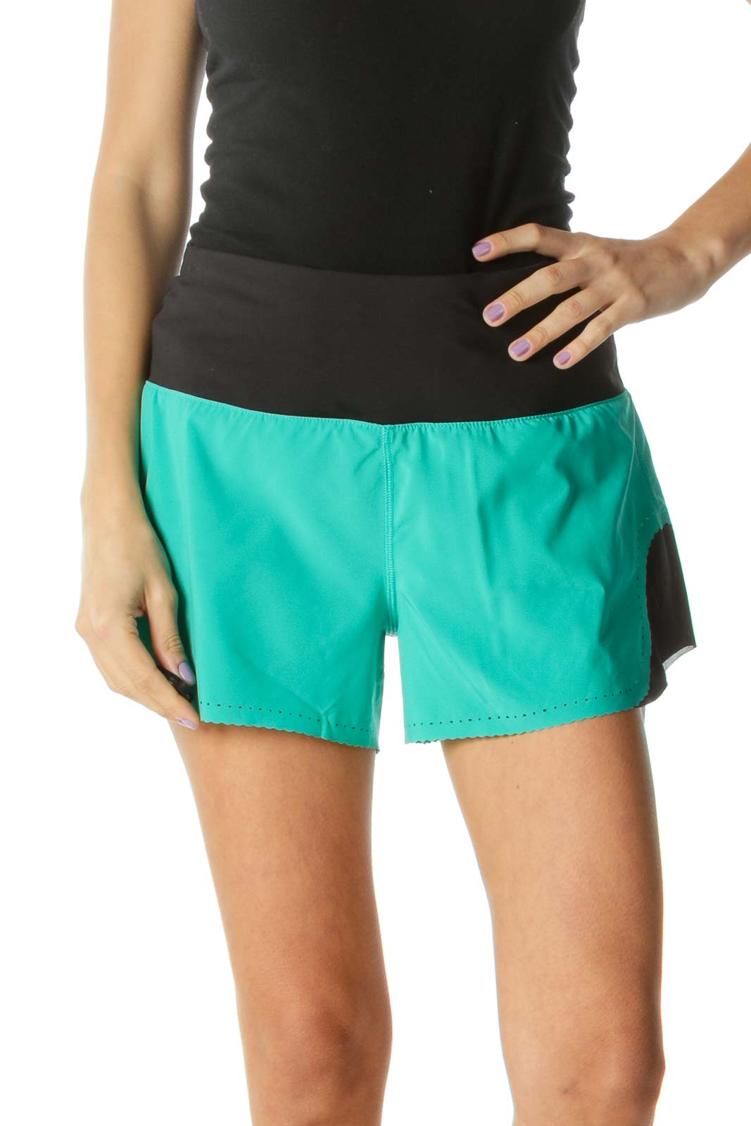 Black and Green Sports Shorts