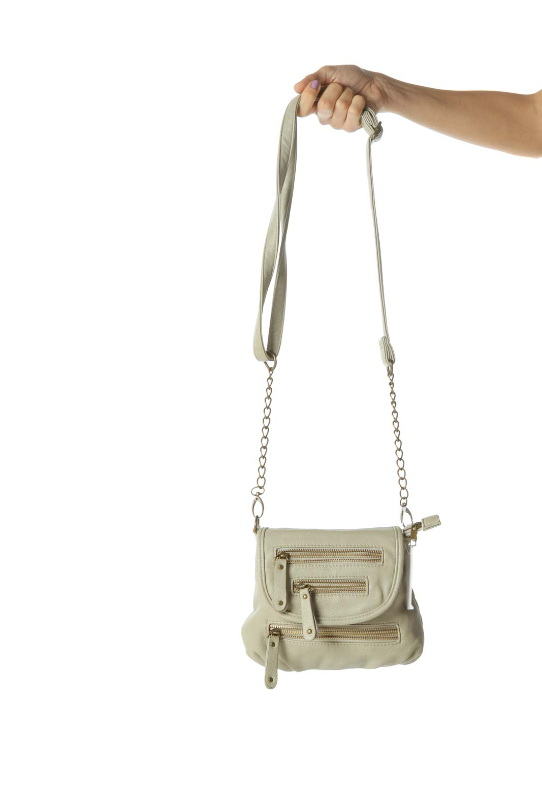 Cream Zippered Crossbody Bag with Removable Chain Strap
