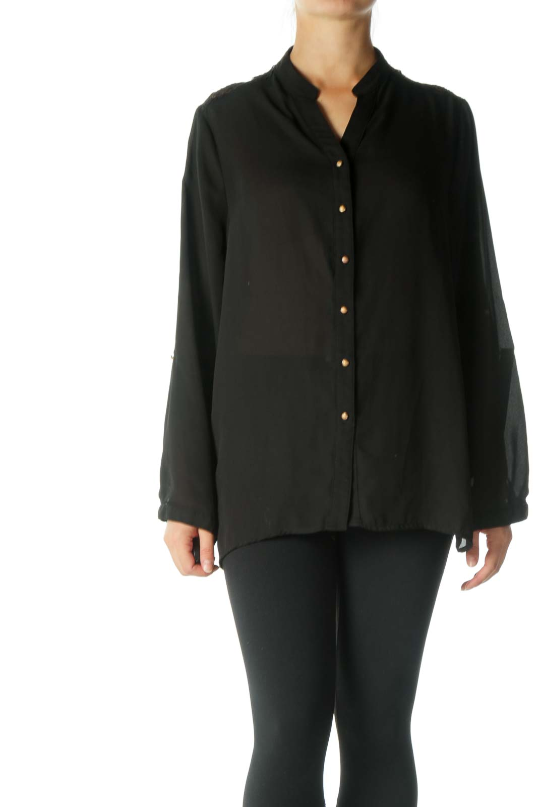 Black Lace Back Button Down Shirt