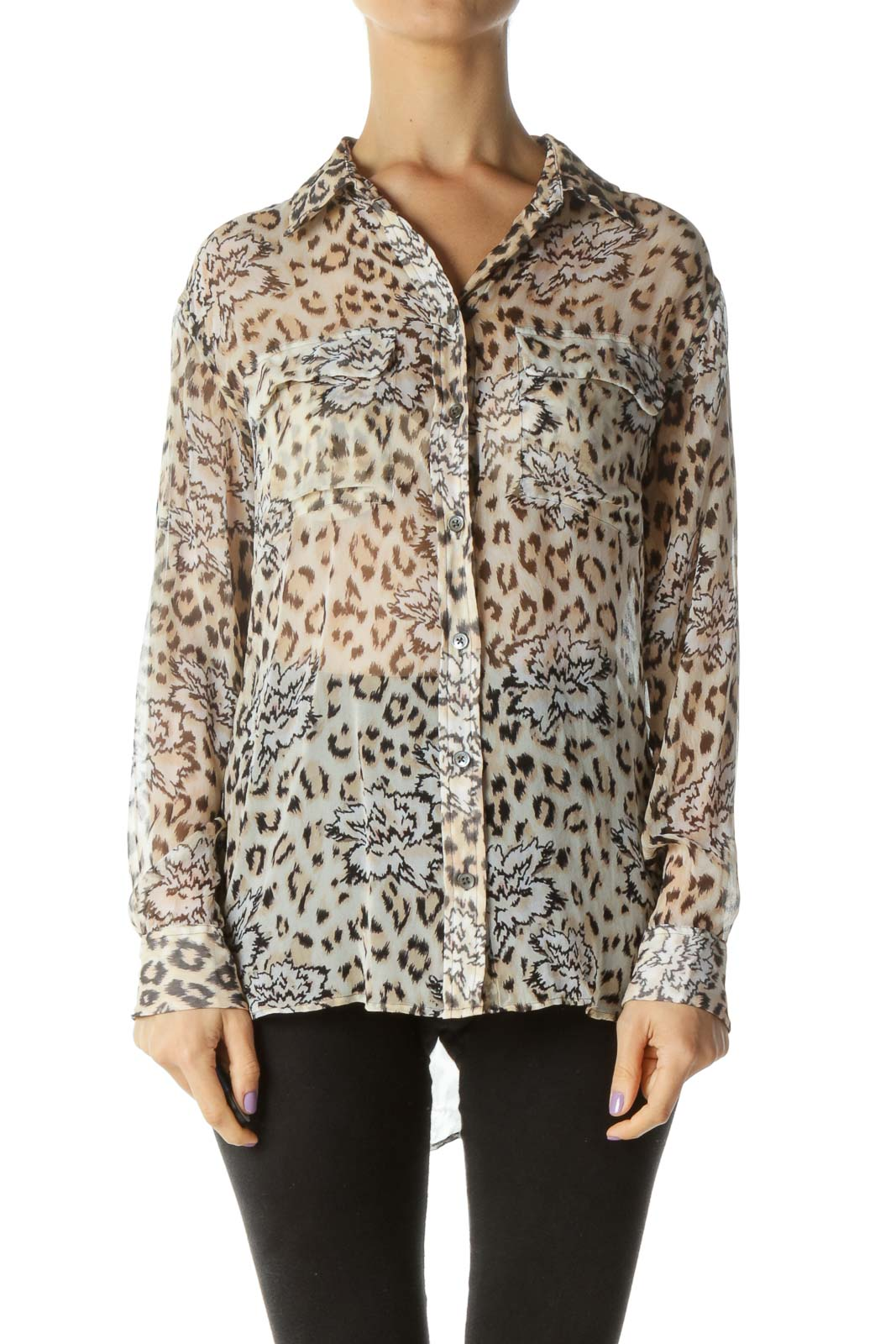 Cream Cheetah Print Button Down