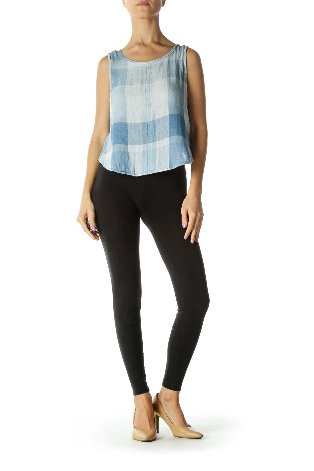 Blue Plaid Button Back Tank Top