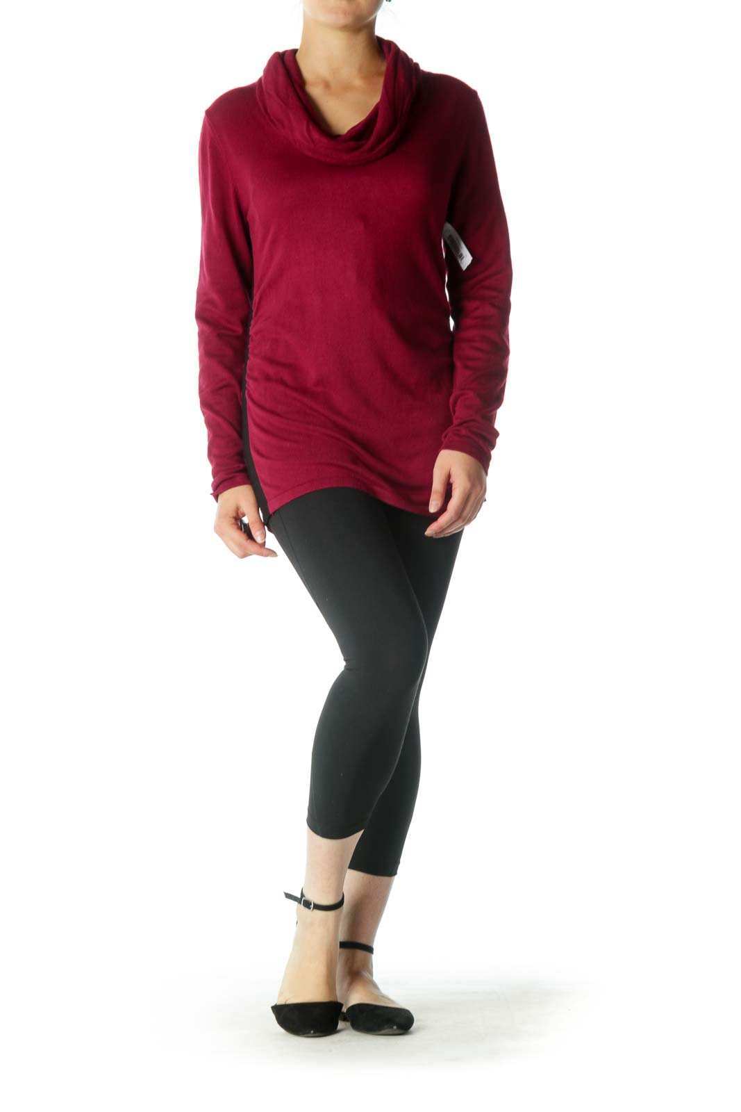 Burgundy Cowl Neck Long Sleeve Shirt