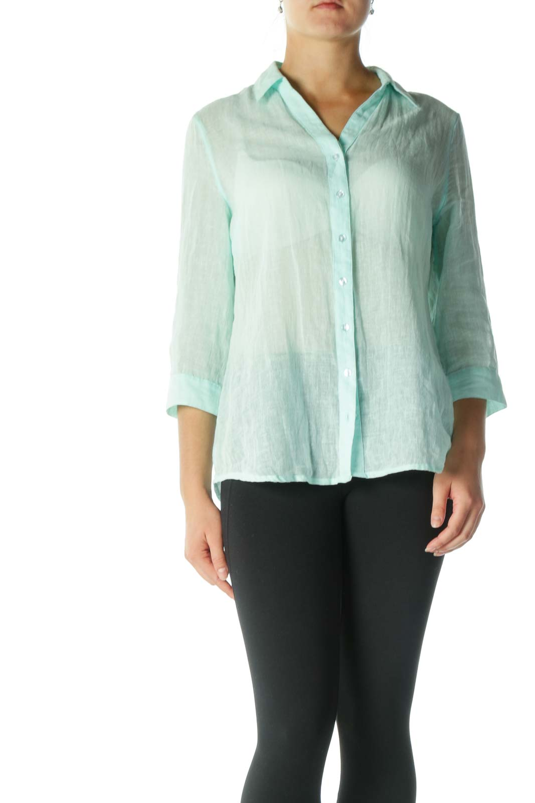 Mint See Through Button Down Shirt