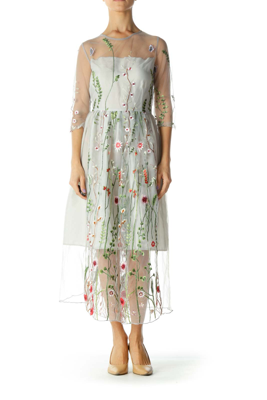 Gray Evening Dress with Garden Embroidery