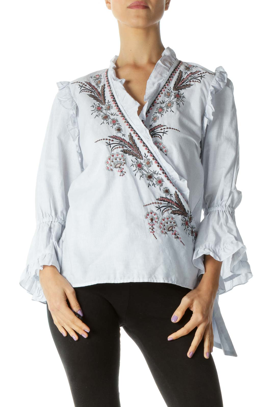 Blue and White Embroidered Trumpet Sleeve Shirt