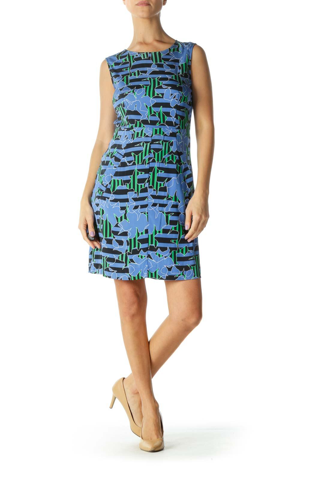 Black and Blue Striped Print Sheath Dress