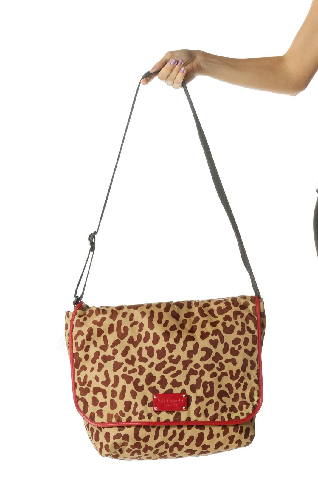 Brown and Red Cheetah Print Messenger Bag