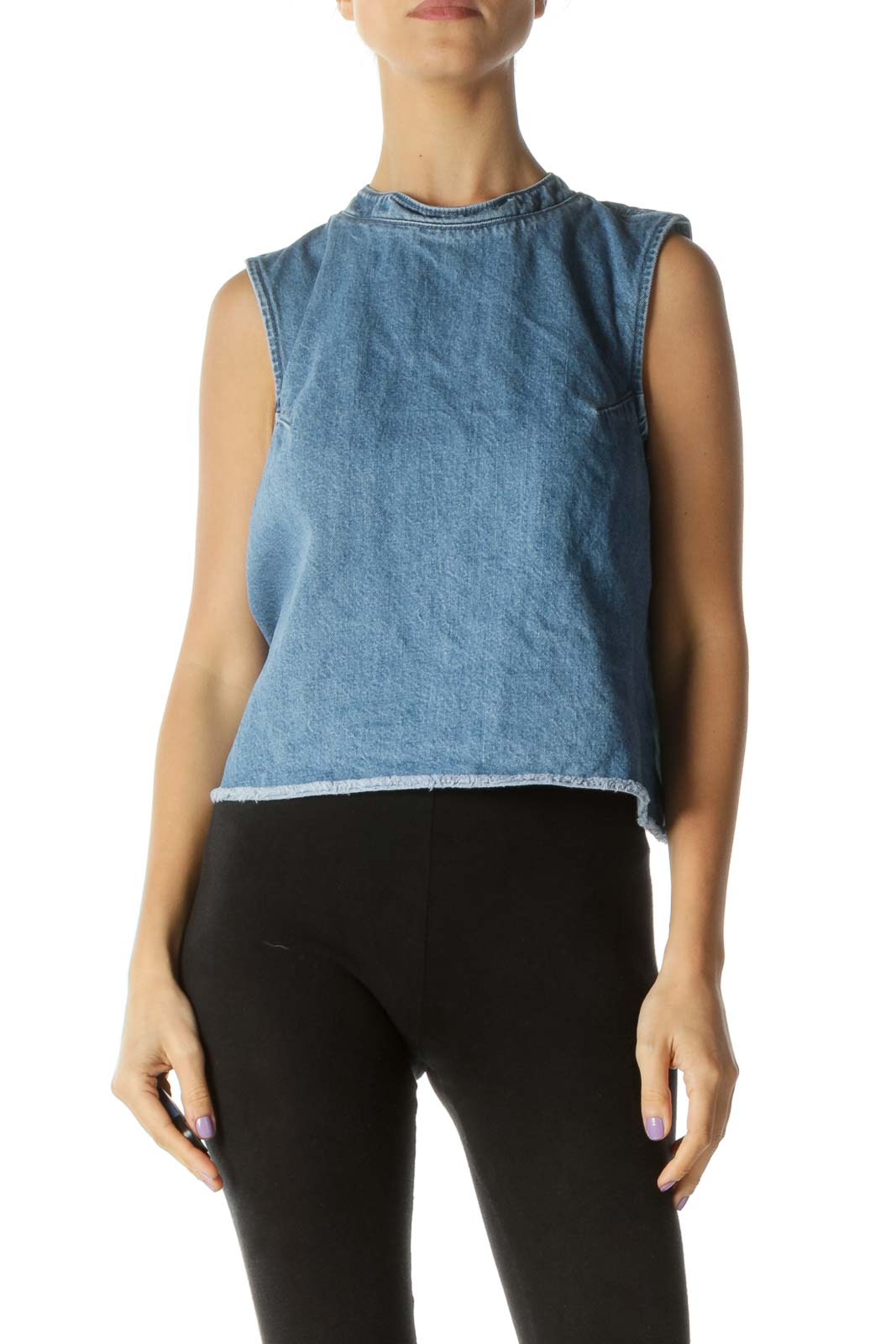 Blue Denim Mock Neck Sleeveless Top