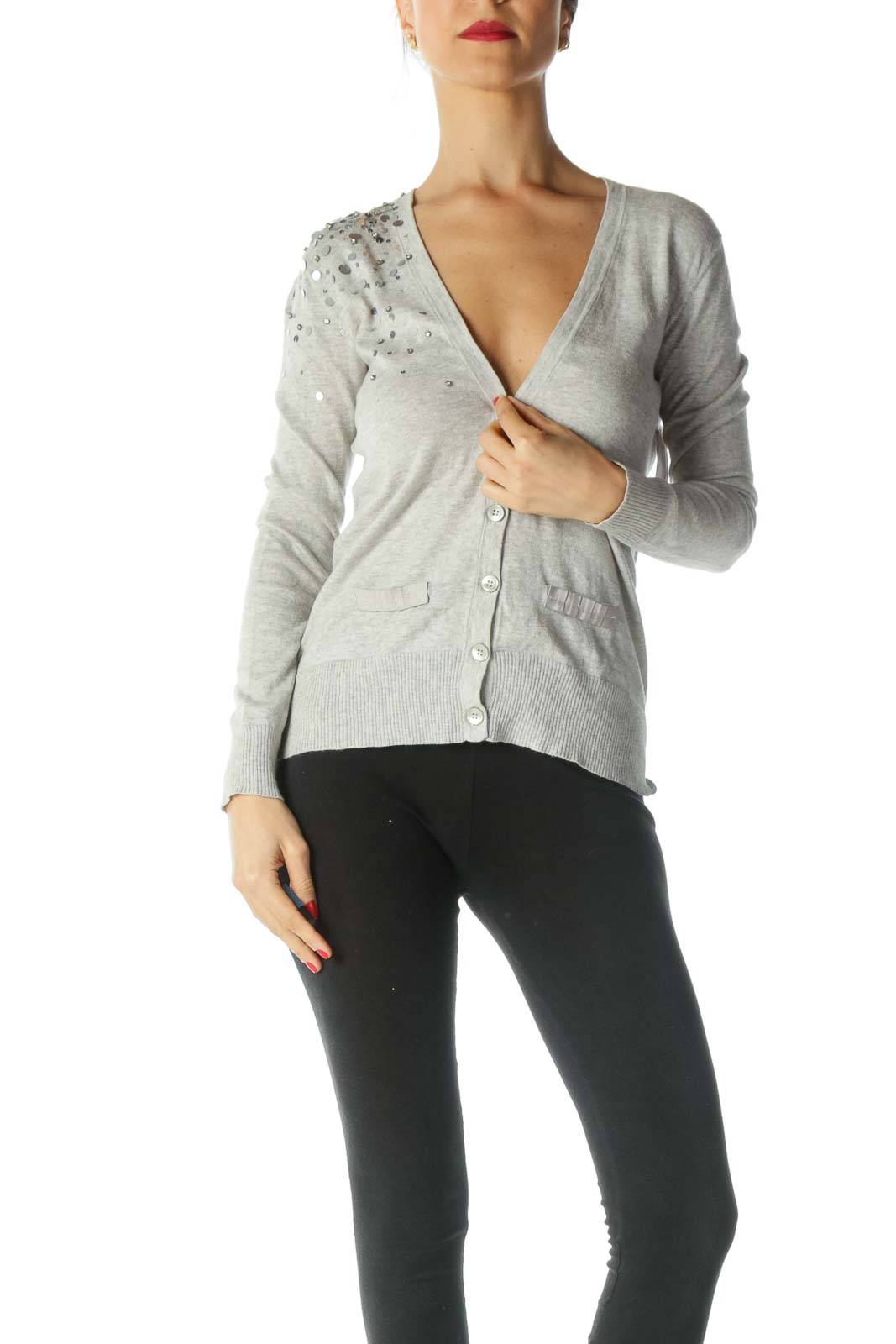 Gray Sequin Detail Pocketed Sweater