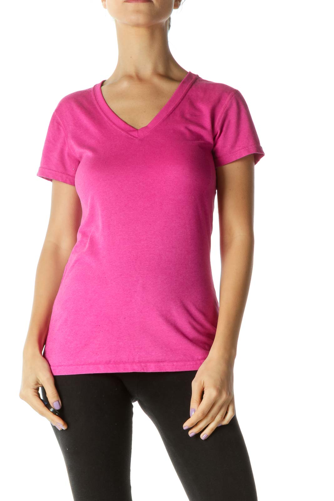Pink V-neck Sports Top