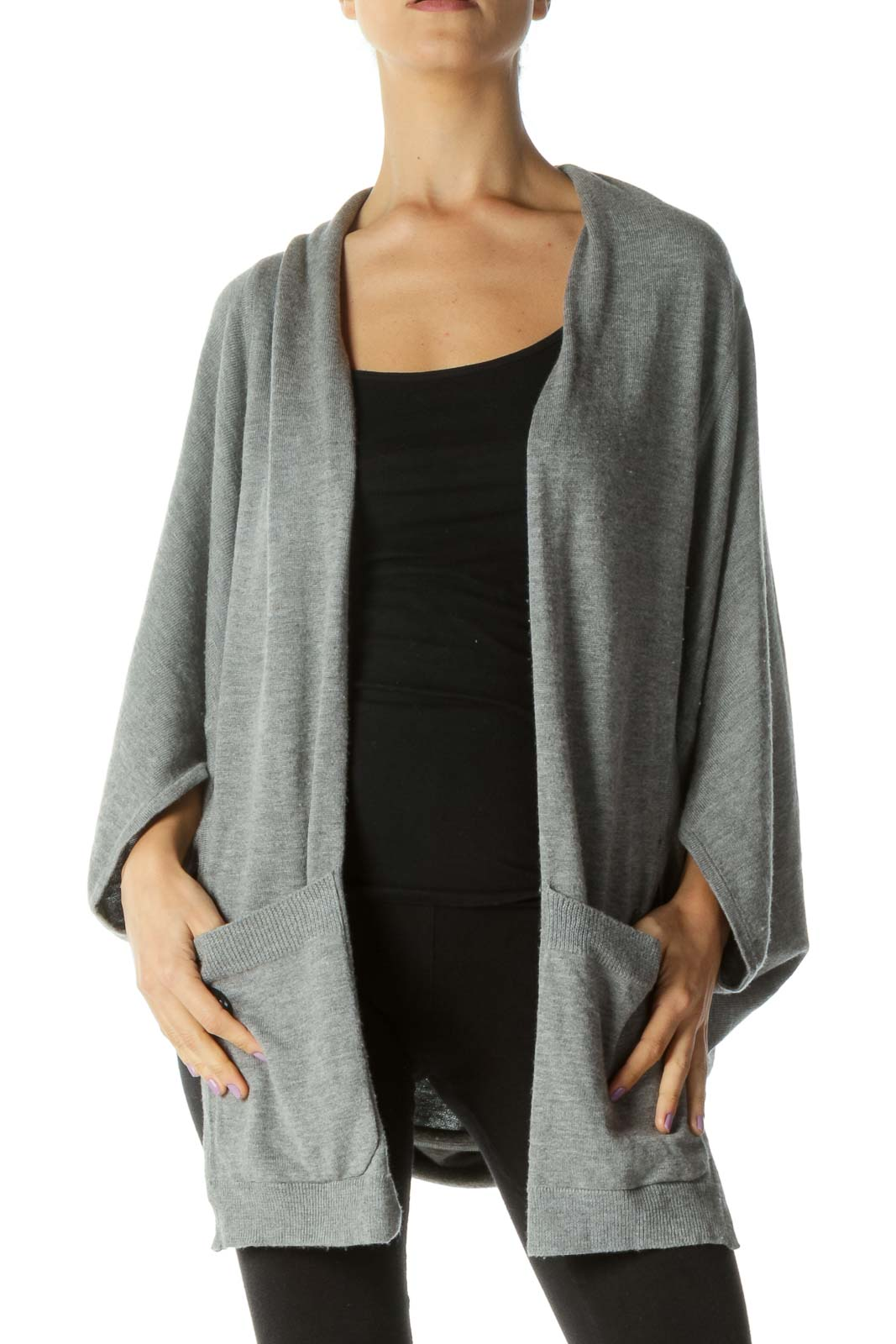 Gray Wool Blend Pocketed Open Cardigan