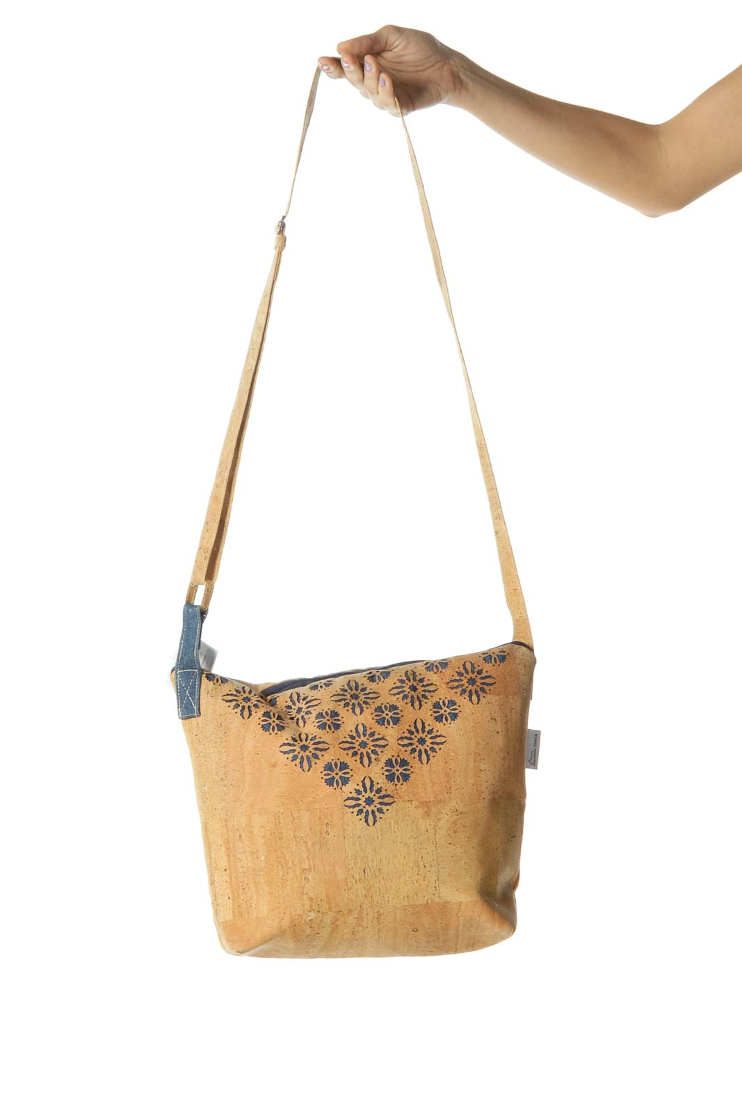 Blue and Brown Denim Cork Messenger