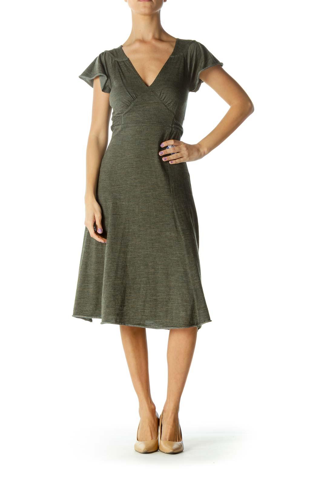 Green Waist-Tie  Day Dress