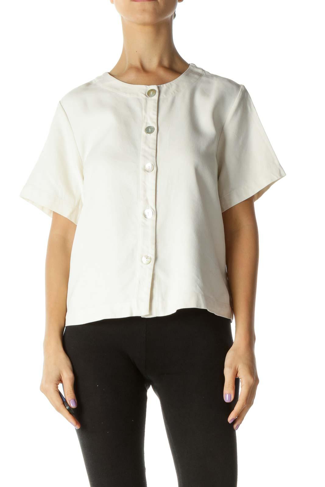 Cream 100% Silk Buttoned Top