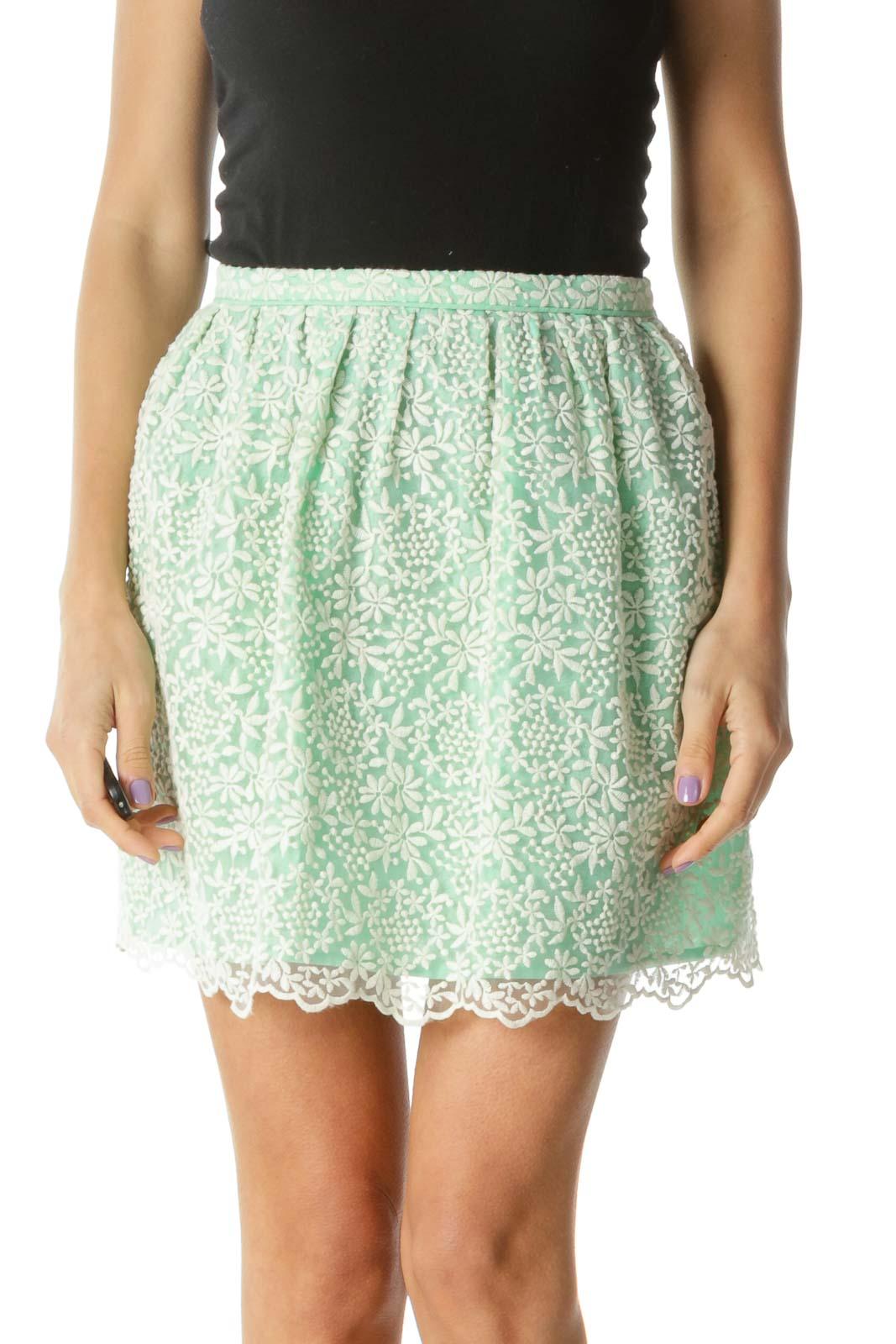 Mint Floral Print A-line Skirt