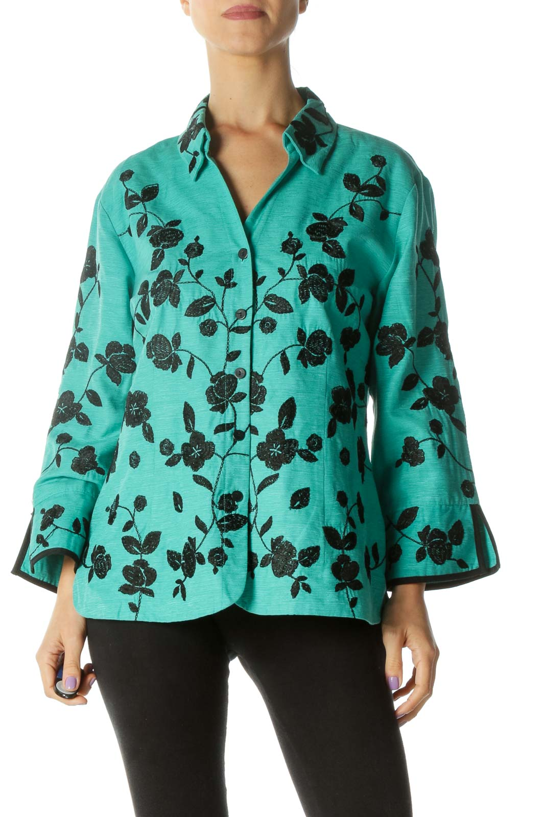 Green and Black Floral Print Button Down Shirt