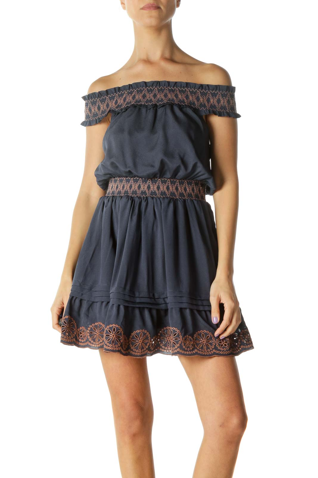 Navy Off-Shoulder Day Dress with Brown Accents
