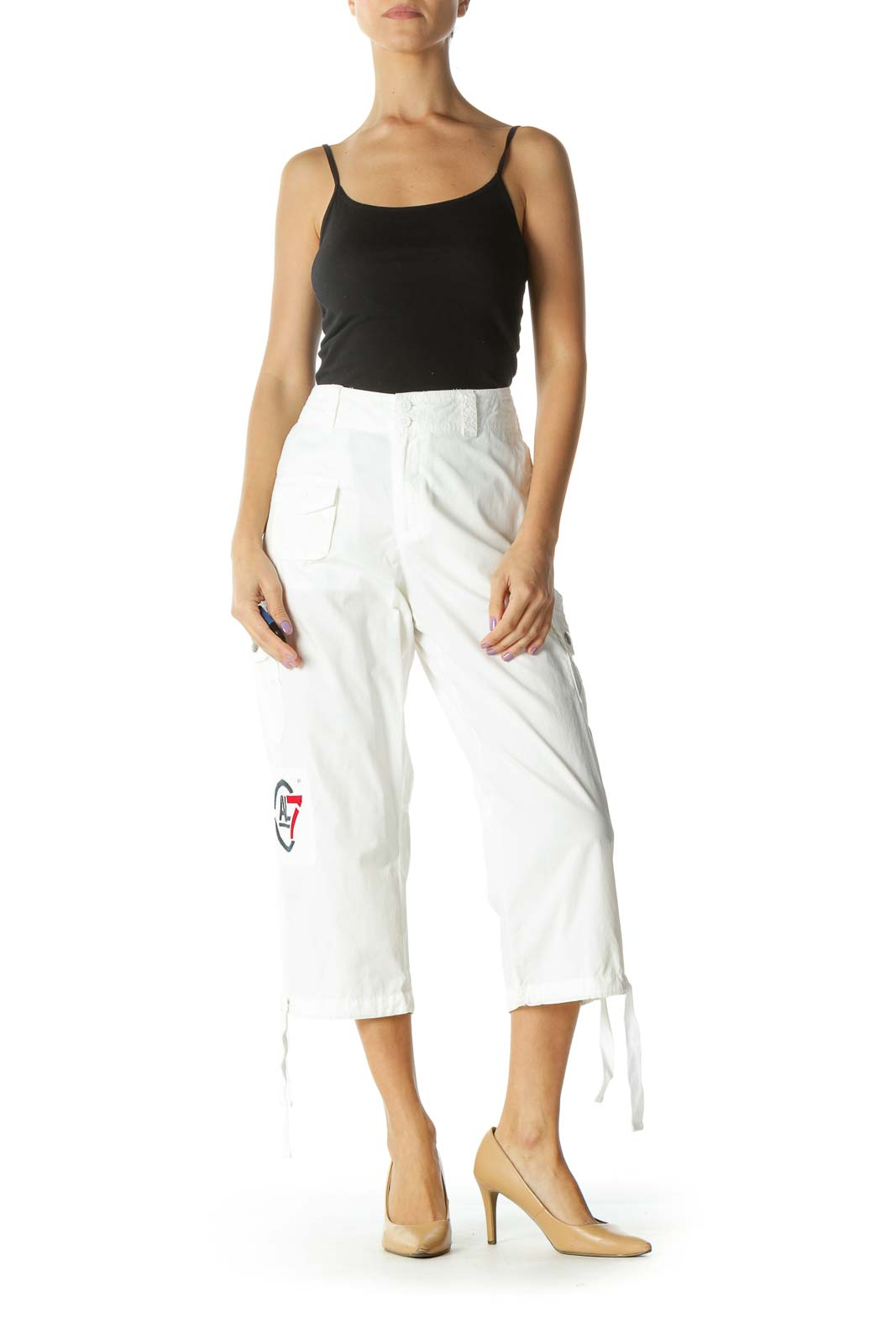 White Capri Cargo Pants