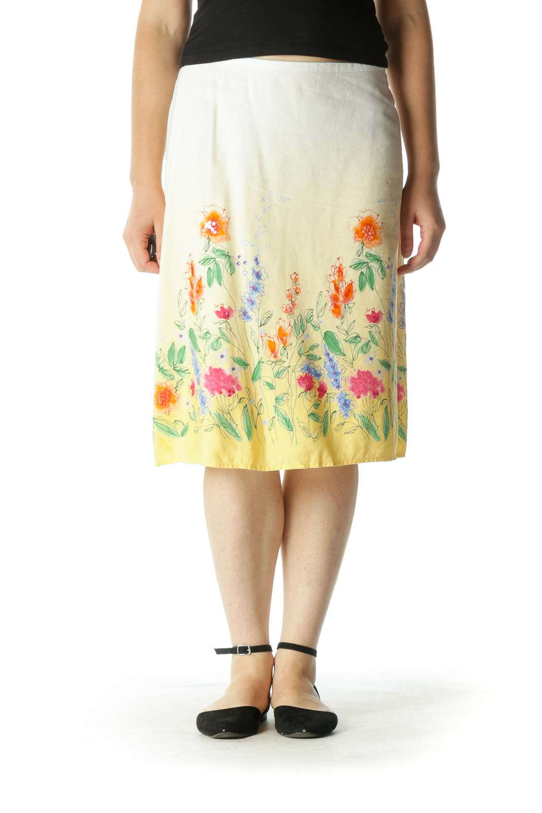 Yellow Ombre Floral Skirt