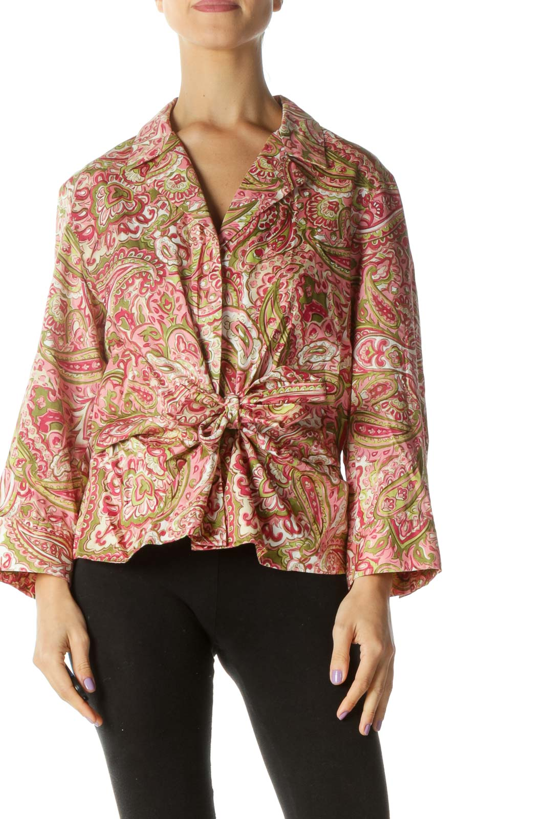 Pink and Green Paisley Button Down Shirt