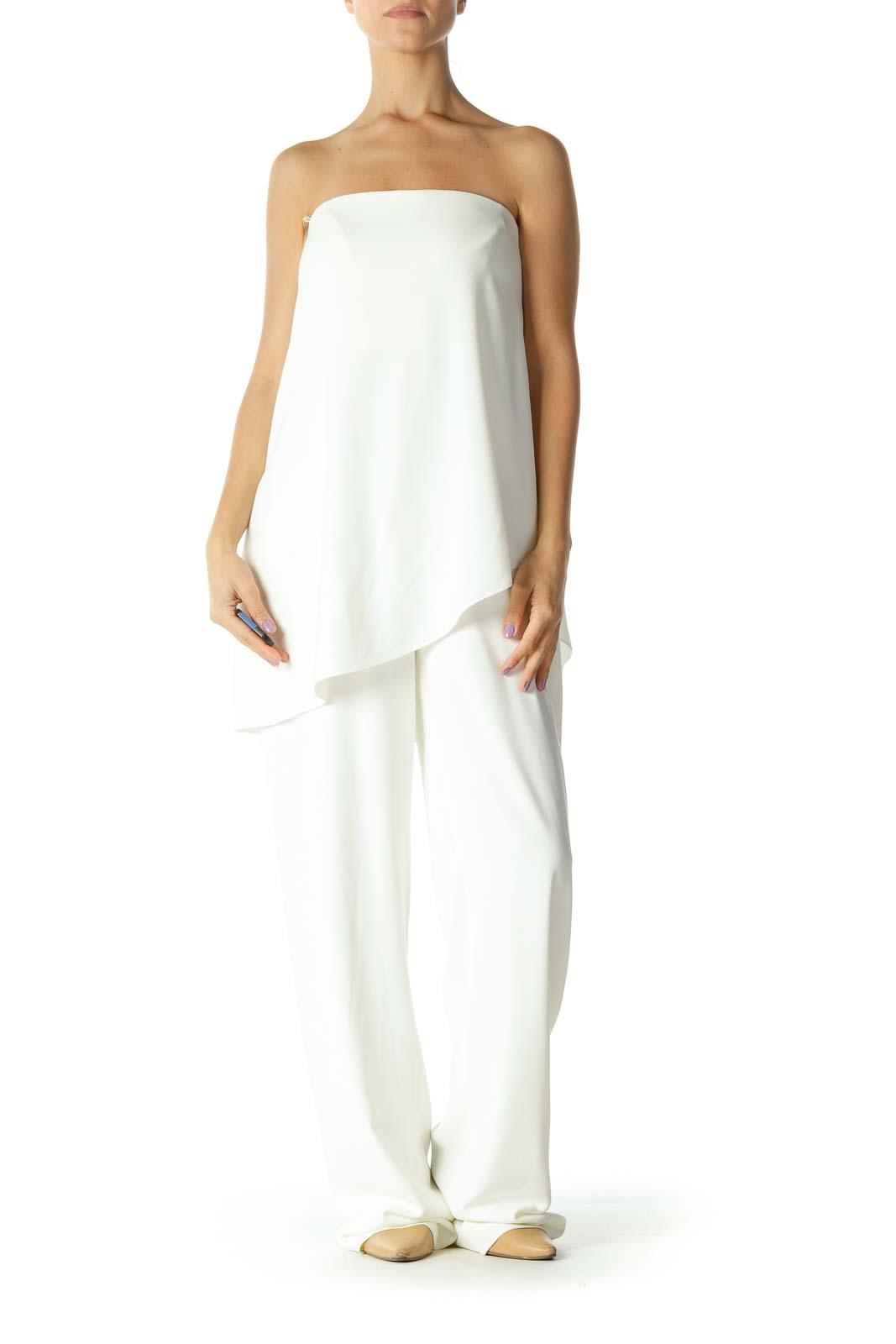 Cream Strapless Layered Jumpsuit