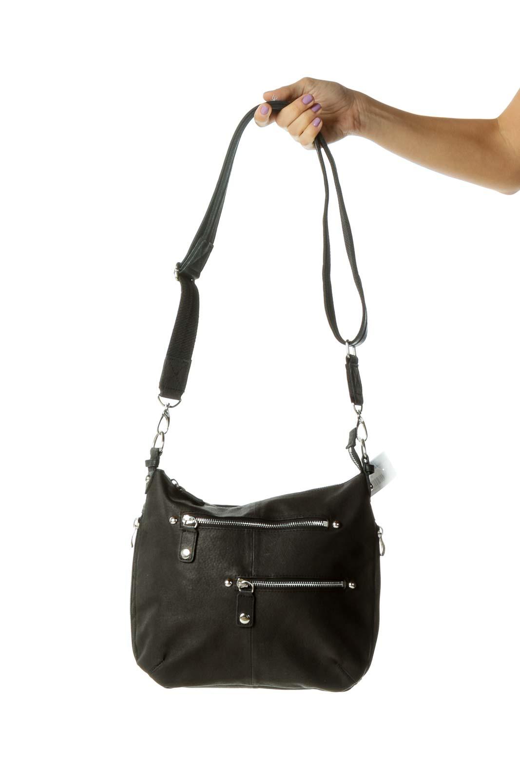Black Leather Zippered Crossbody Bag