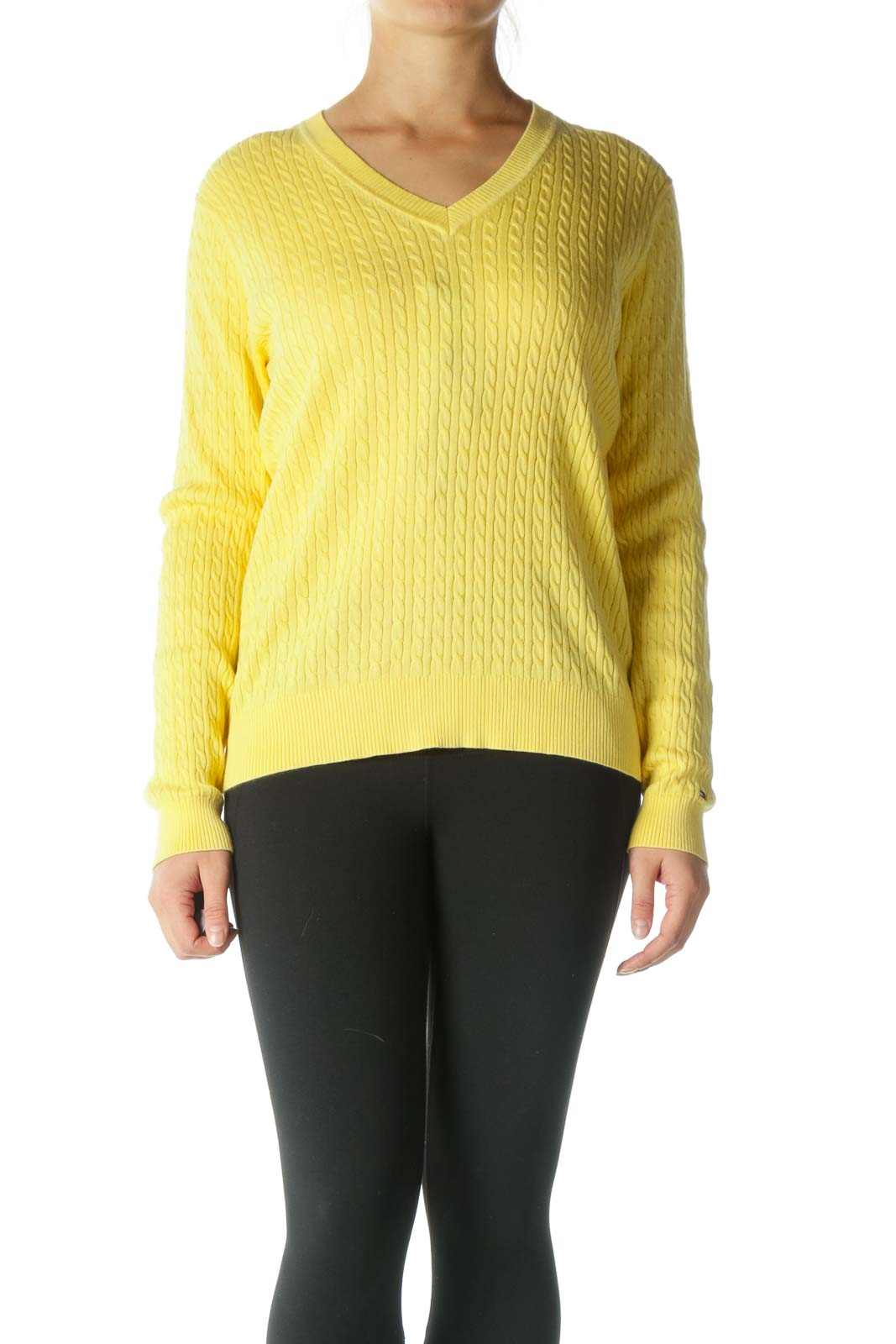 Yellow V-Neck Cable Knit Sweater