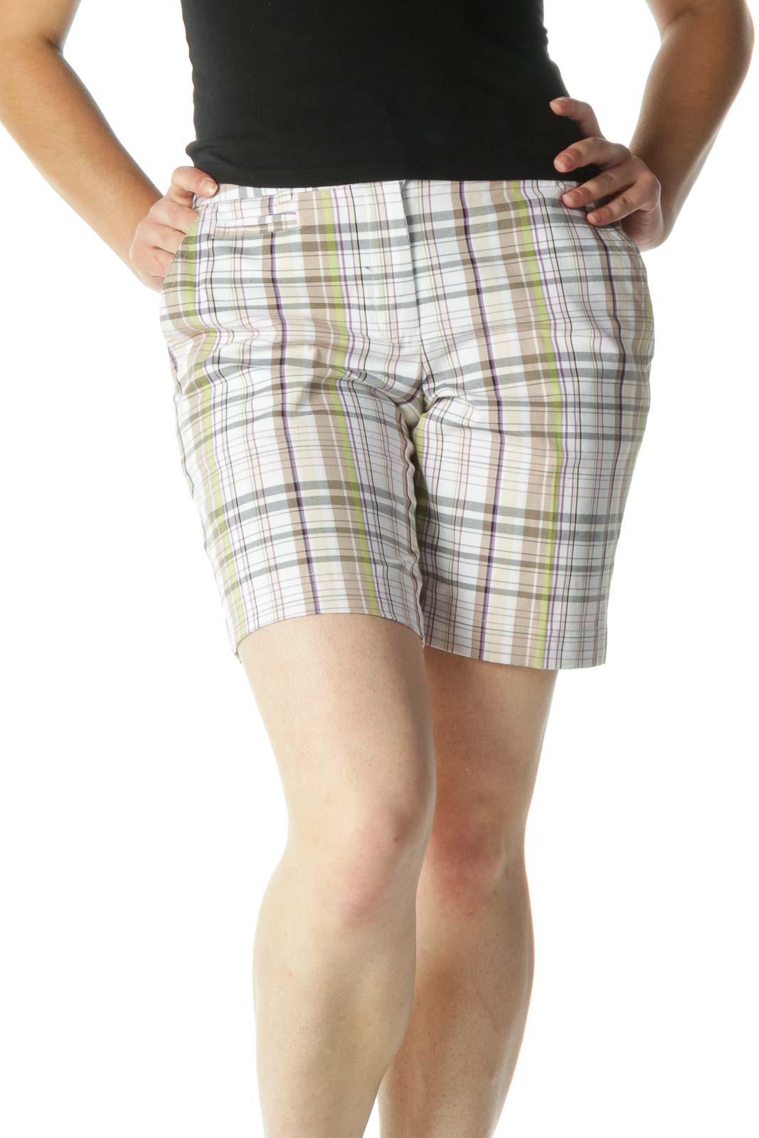 Brown Multicolor Plaid Shorts