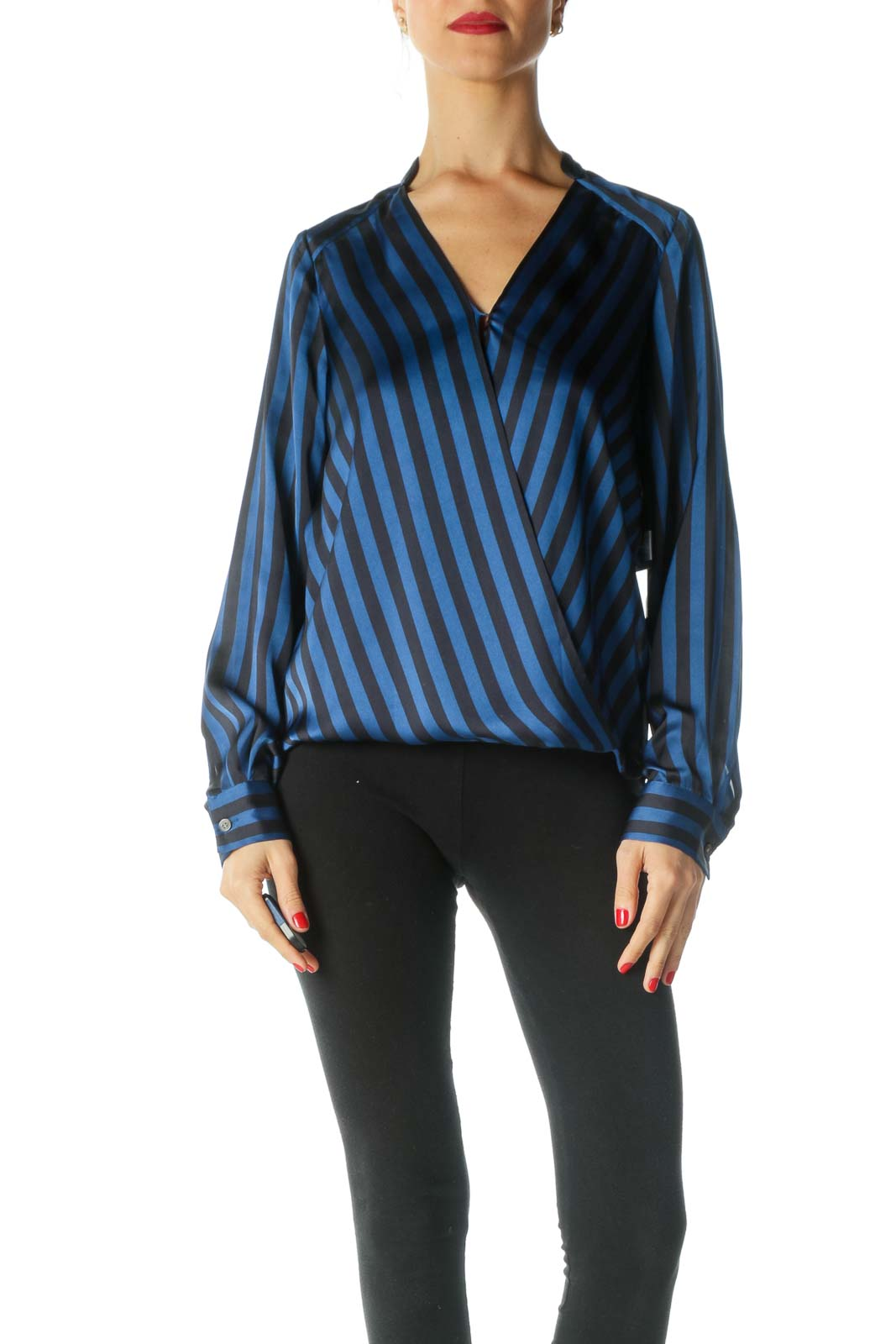 Blue Striped Wrap Top