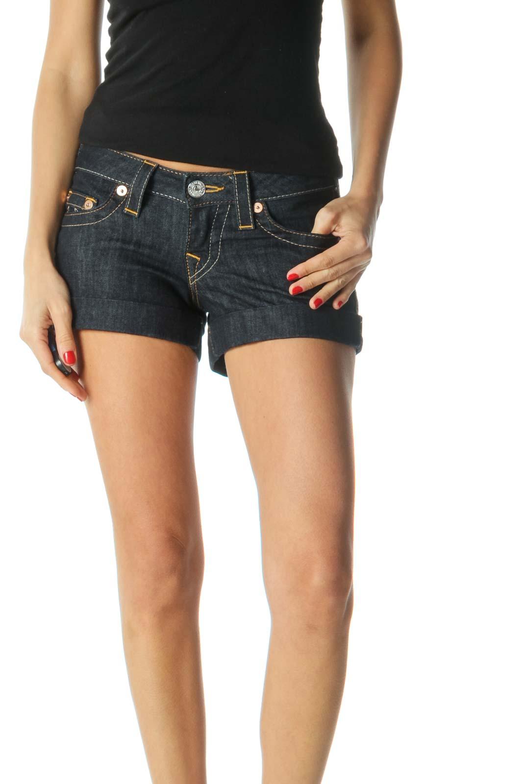 Blue Dark Wash Low-Rise Denim Shorts
