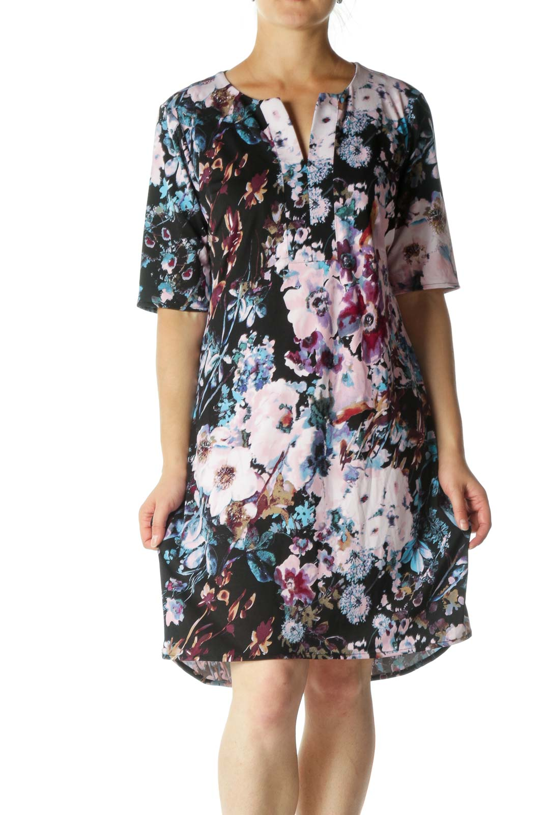 Black and Purple Multicolor Floral Print Shift Dress