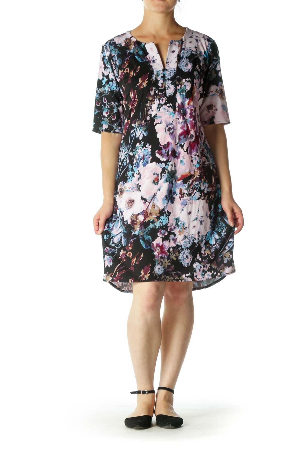 Black and Purple Multicolor Floral Print Shift Dress