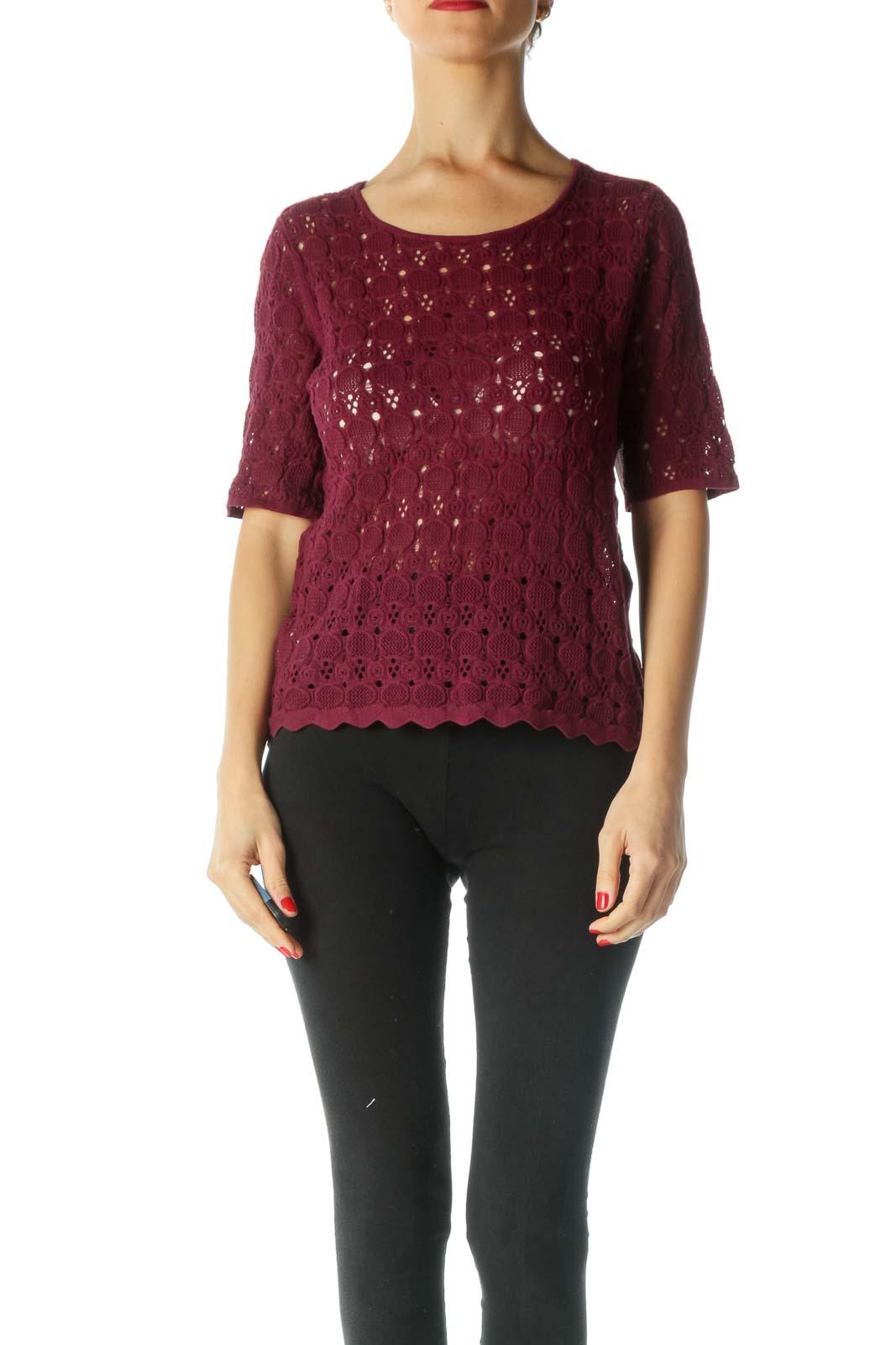 Burgundy Round Neck Short Sleeve Knit Top
