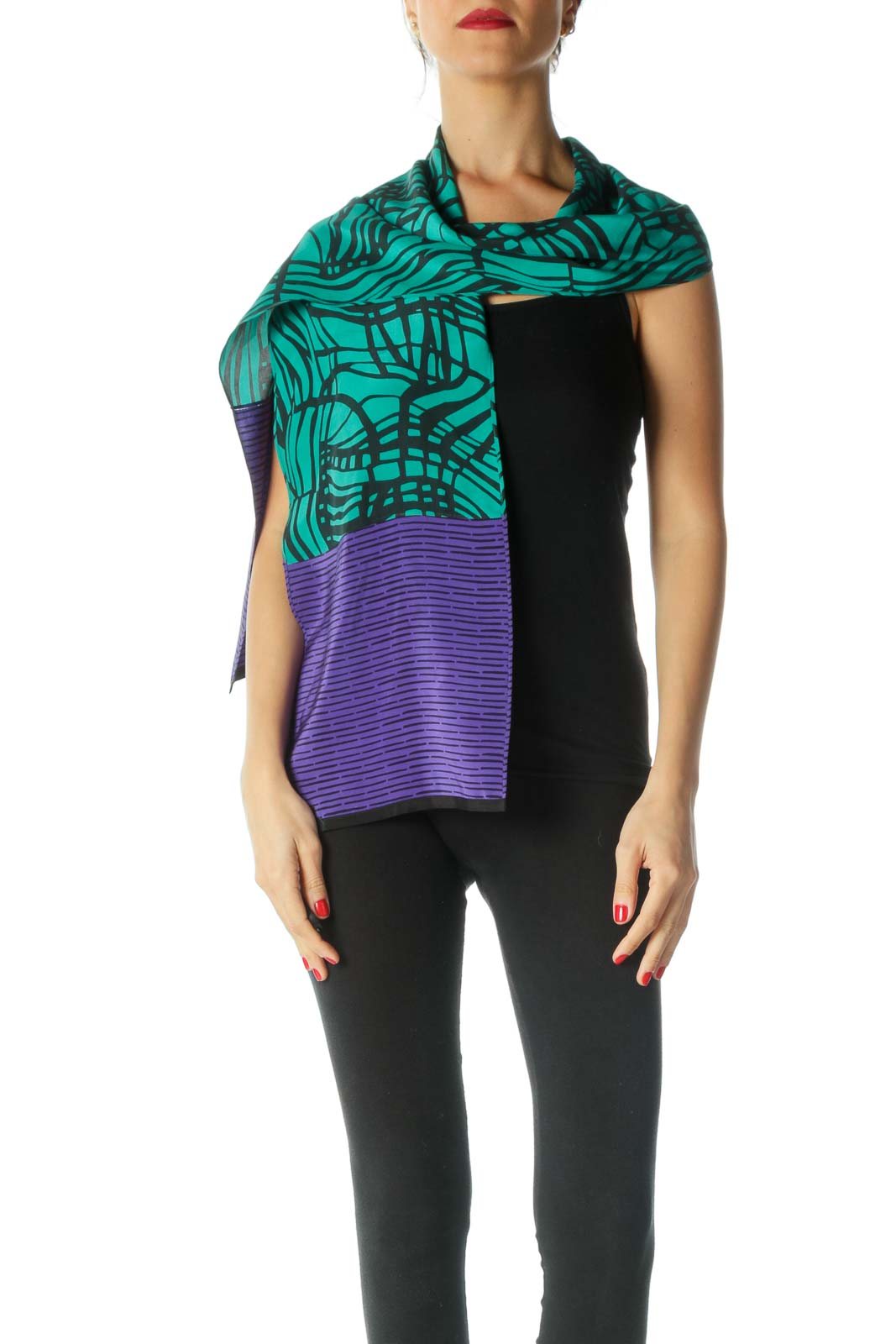 Black Green Purple 100% Silk Print Scarf