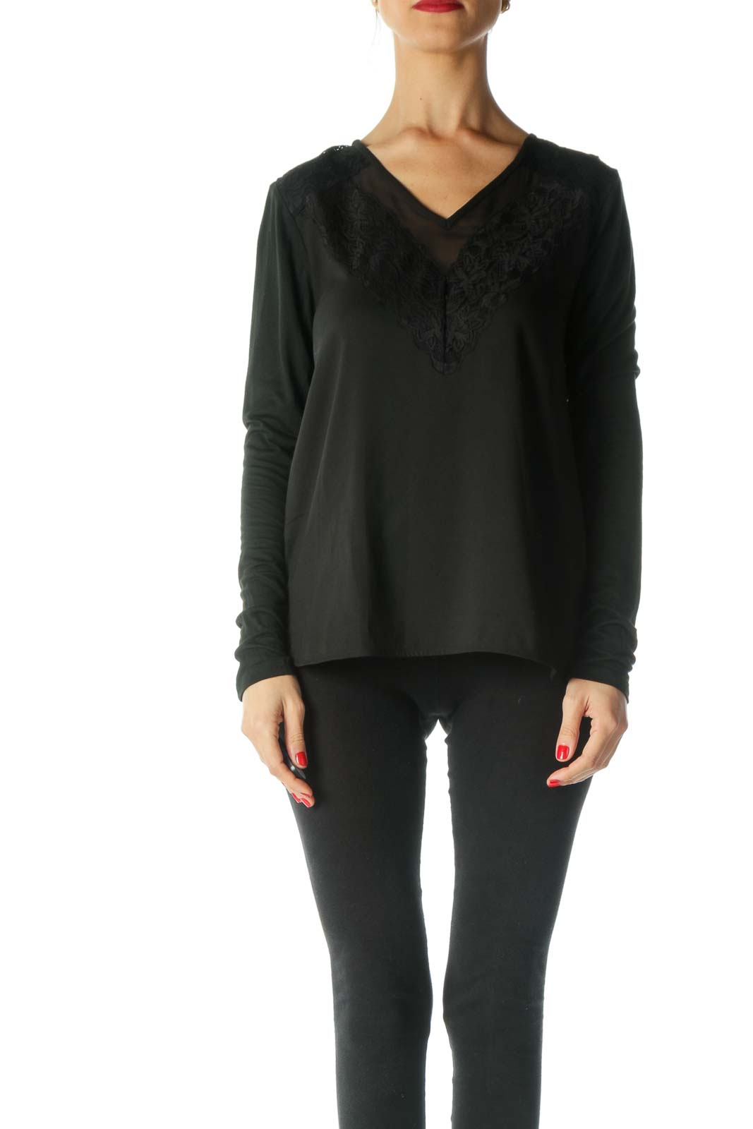 Black Lace Long Sleeve Blouse