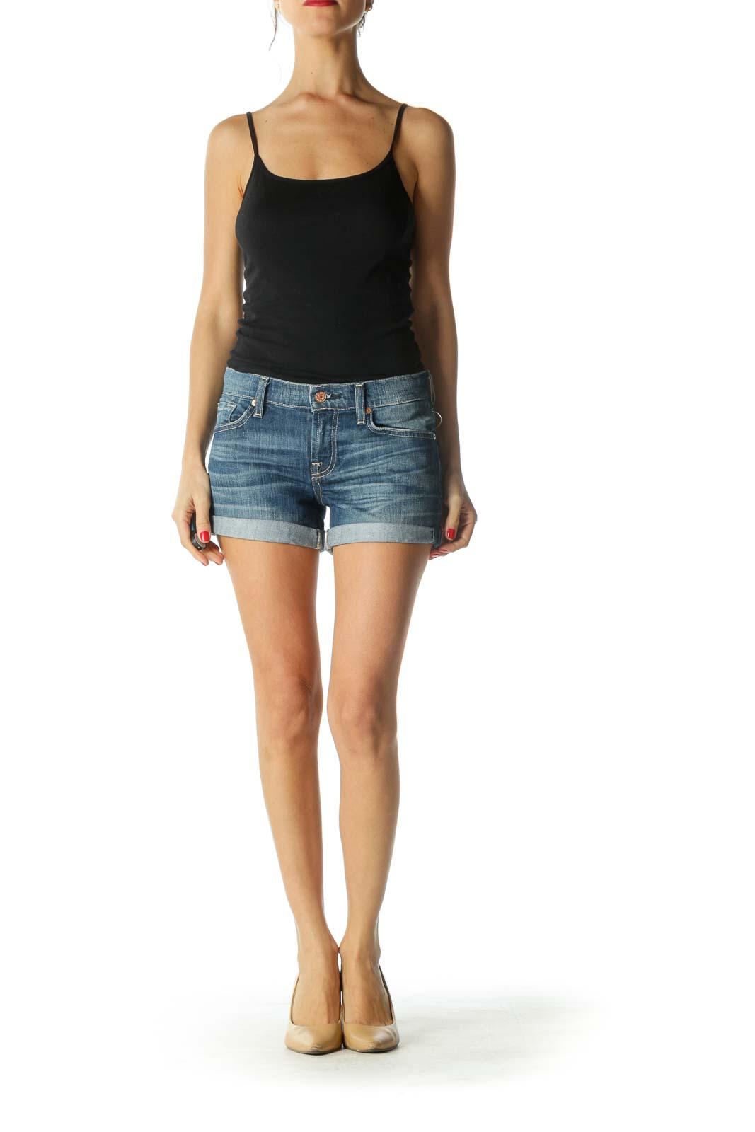 Blue Medium Wash Cuffed Denim Shorts