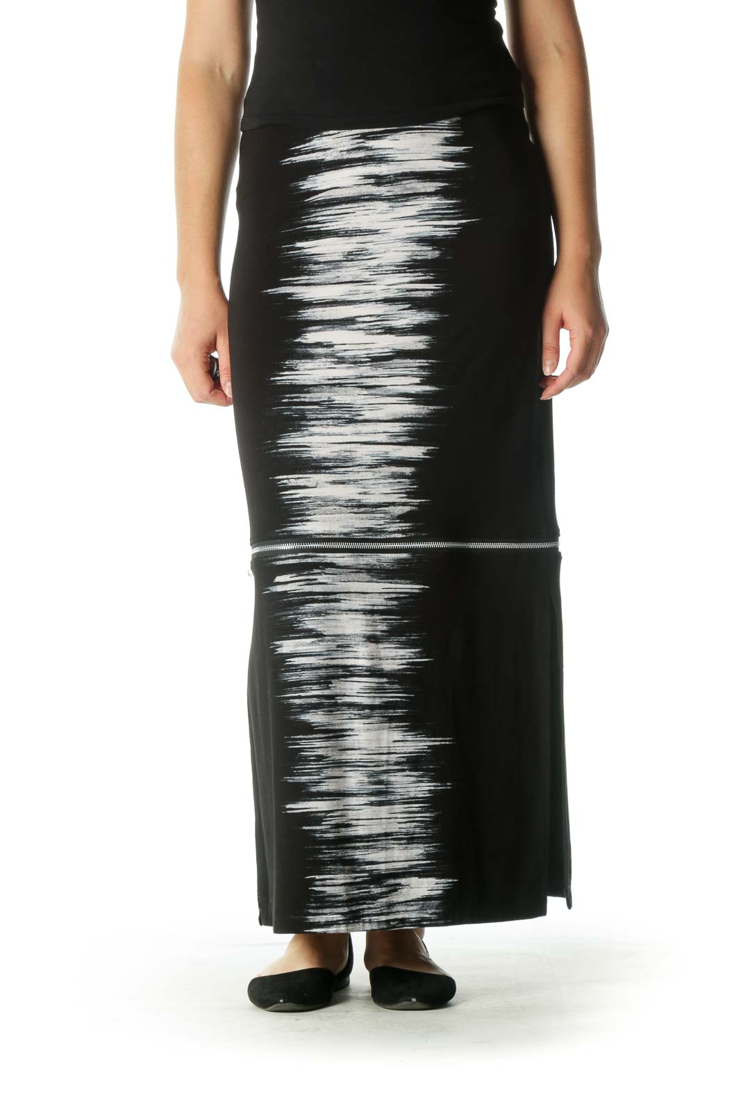 Black and White Zippered Maxi Skirt