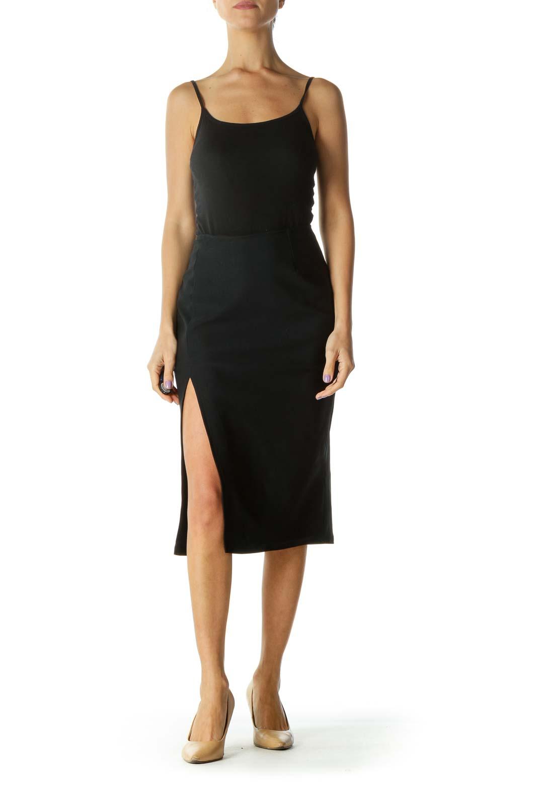 Black Slit Pencil Midi Skirt