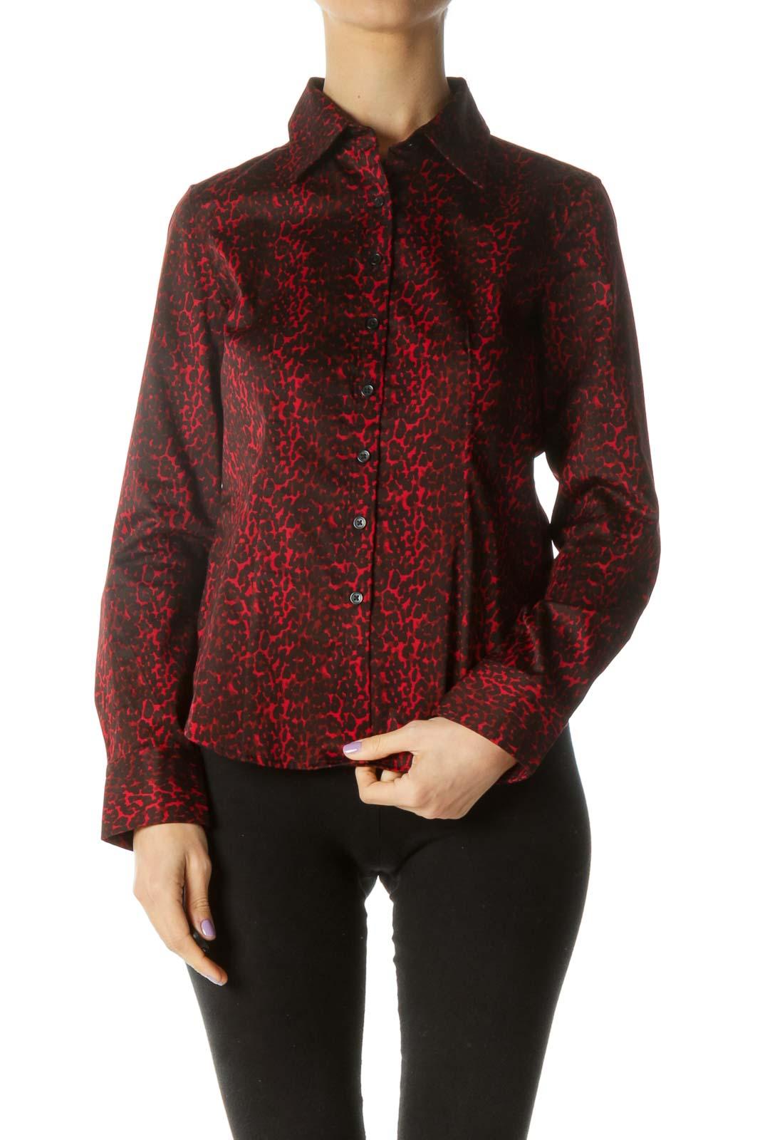 Red and Black Cheetah Print Button-down Shirt