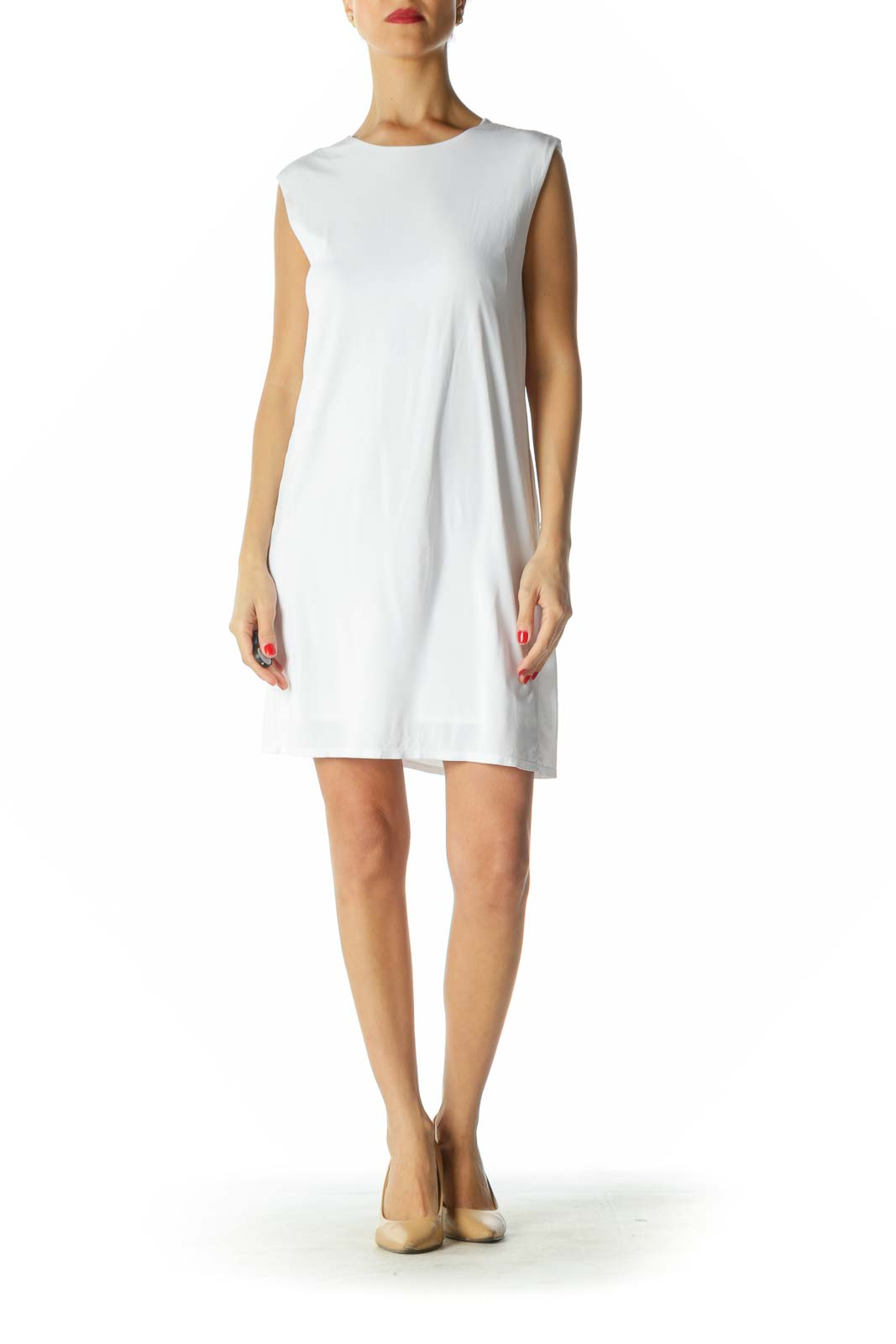 White Sleeveless Shift Dress