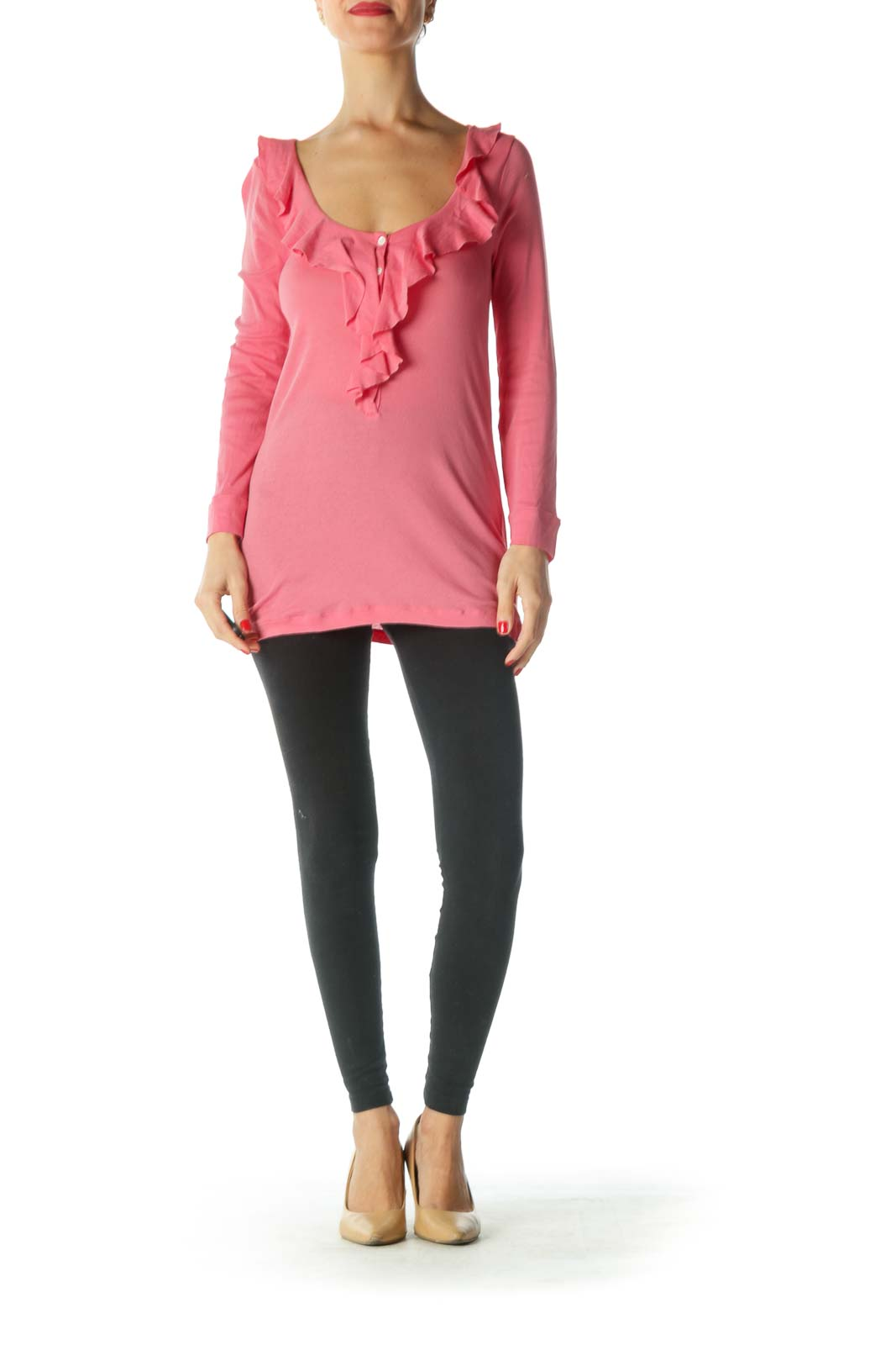 Pink Ruffled Collar Long Sleeve Shirt
